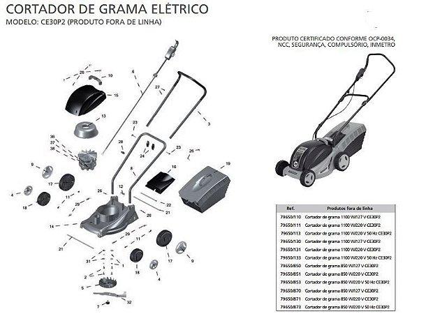 Peças de Reposição Cortador de Grama Elétrico Tramontina CE30P2