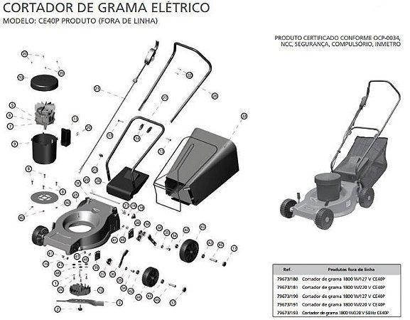 Peças de Reposição Cortador de Grama Eletrico Tramontina CE40P