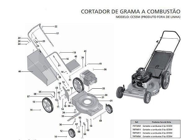 Peças Reposição Cortador De Grama Combustão Tramontina Cc55m