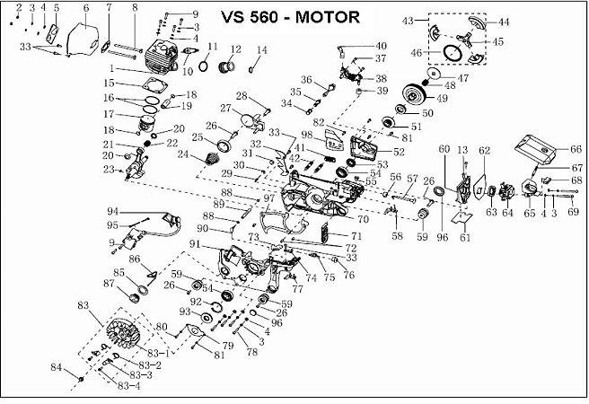 Peças De Reposição Motosserra Vulcan Vs560