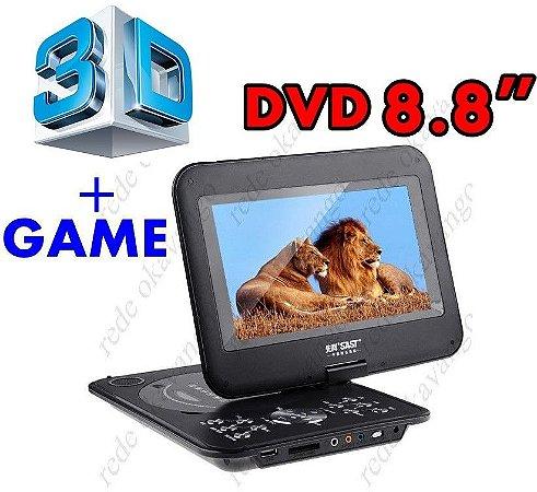 """DVD Portátil 8.8"""" 3D Com tv + Game + MP4 + Entrada SD Card"""