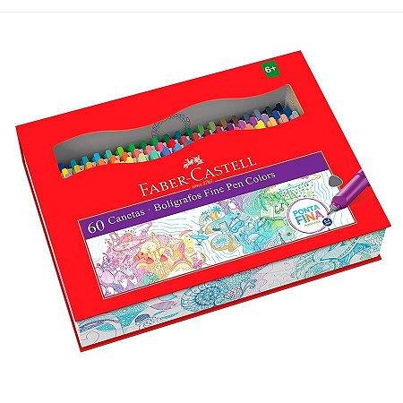 Caneta Hidrográfica Faber Castell Fine Pen 0,4mm Estojo c/60 cores