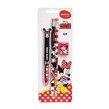 Kit Minnie Mouse Lapis Grafite C/Borracha+Apontador+Caneta Molin
