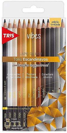 Lápis De Cor Vibes Tons Escandinavos 12 Cores + 1 Lápis 6B Tris