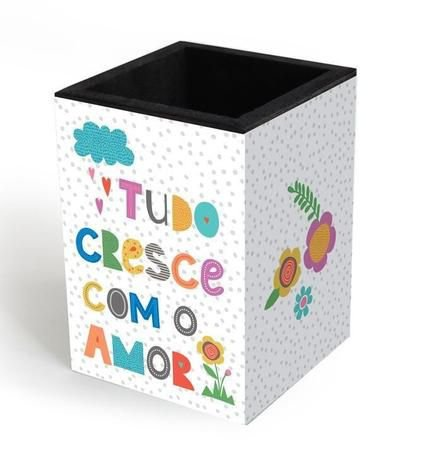 Porta Lápis Frases Coloridas