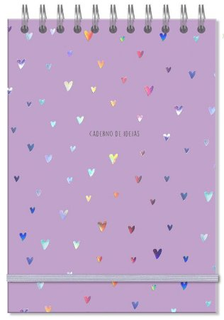 Caderno de Ideias Corações Holográficos Fina Ideia