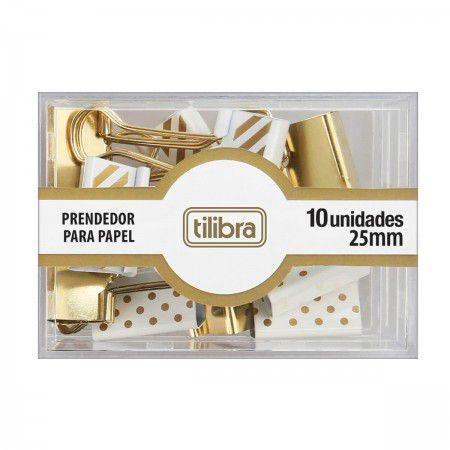 Prendedor de Papel Dourado Tilibra 10 Unidades