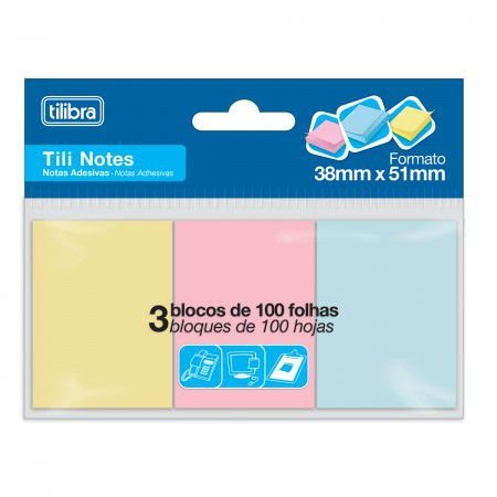 Bloco Adesivo Tili Notes  300 Folhas 3 Cores