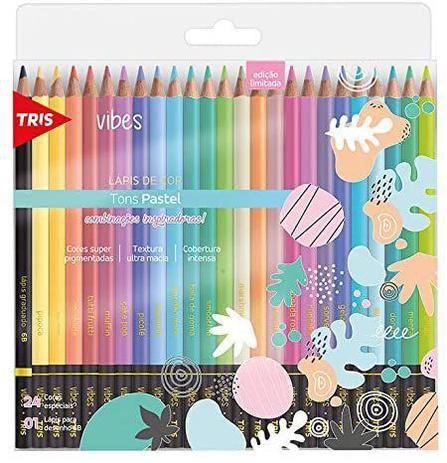 Lápis De Cor Vibes Tons Pastel 24 Cores + 1 Lápis 6B Tris