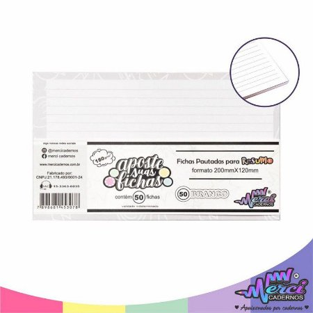 Fichas Pautadas Branca Para Resumo Merci Cadernos