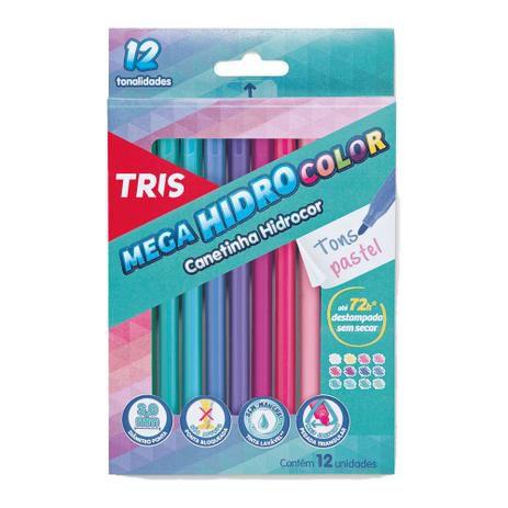 Canetinha Hidrocor Mega Hidro Color 12 cores Pastel
