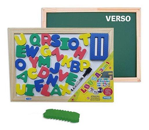 Lousa Magnética Infantil Frente Verso 3 Em 1 Branco E Verde