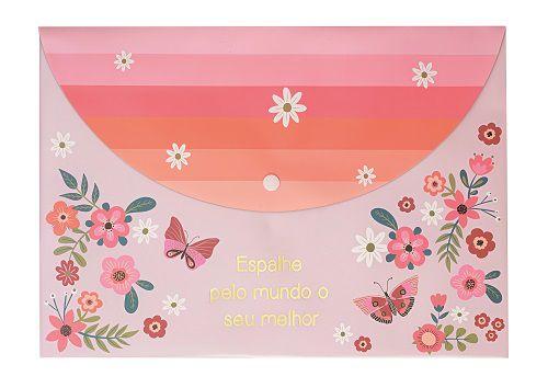 Pasta Envelope Borboletas Rosa Molin