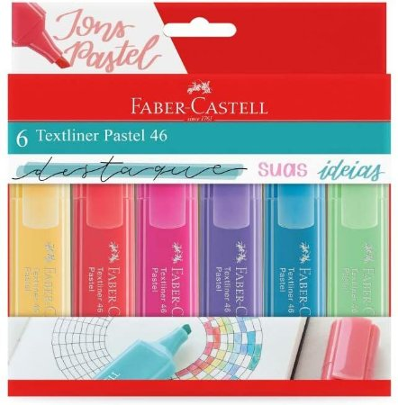 Marca Texto Tons Pastel  Faber-Castell Textliner Pastel 6 Cores