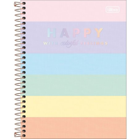 Caderno Capa Dura Colegial Happy Colors 10 Matérias 160 Folhas
