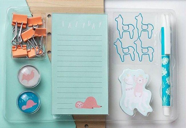 Kit  Sticky Note Glass Magnets Paper Binder Pen Memo Pad