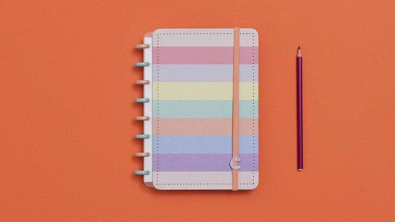 Caderno \inteligente Arco-Íris Pastel A5