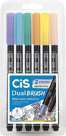 Marcador Artístico Aquarelável 2 Pontas CiS Dual Brush 6 Cores Pastel