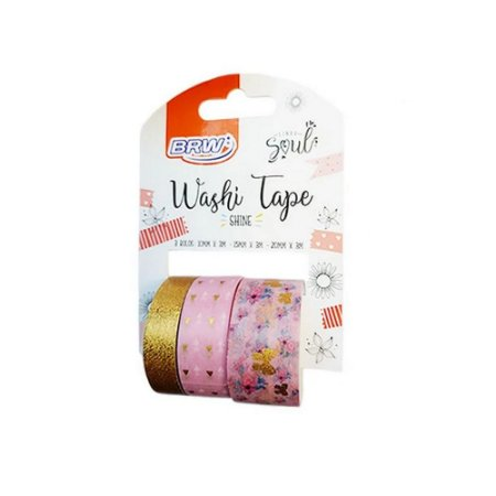Fita Adesiva Washi Tape Shine 10/15/20mmx3m com 3 Rolos 3 Cores Soul - BRW - WT0401