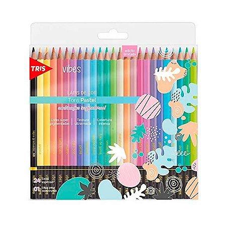 Lápis de Cor 24 Cores Tons Pastel Vibes Redondo Tris