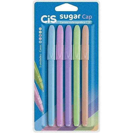 Caneta Esferográfica Cis Sugar Cap Kit Com 5 Cores