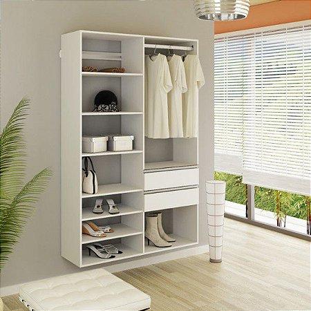 Closet modulado com Gavetas, Cabideiro e Prateleiras