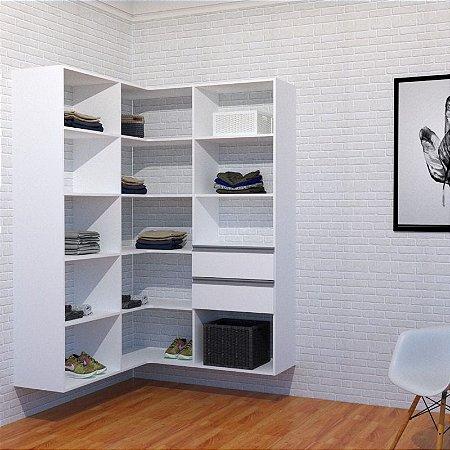 Closet Modulado de Canto com Prateleiras e Gavetas para Lavanderia