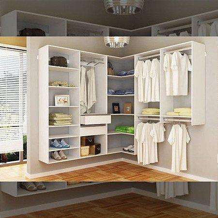 Closet Completo (02) Em L com Prateleiras, Gaveteiros e Cabideiros