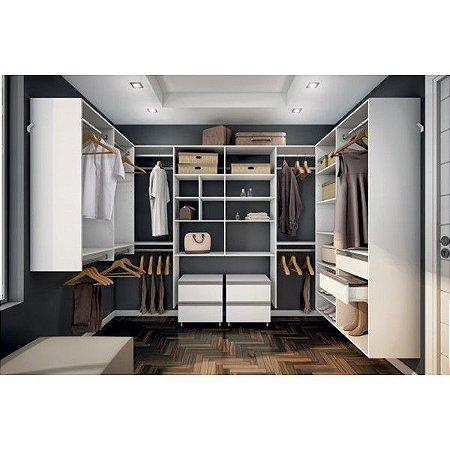 Closet Completo - Formato de U mais 02 gaveteiros - Supercloset
