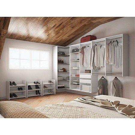 Closet Completo - Em L Com 03 Sapateiras - Supercloset
