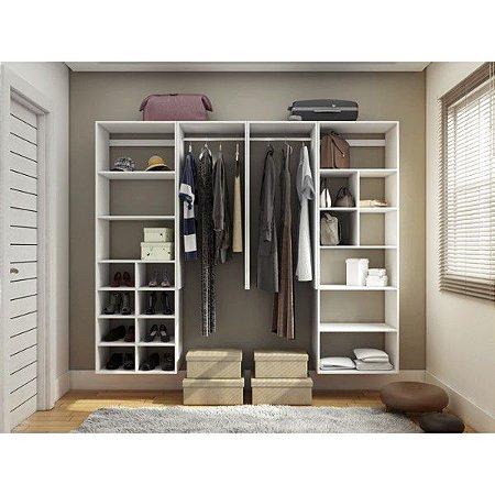 Closet Completo - Linear Com Cabideiros e Nichos - Supercloset