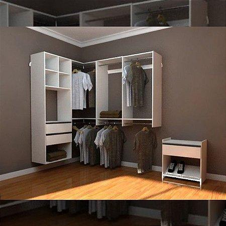 Closet Completo (37) em L com Cabideiros, Prateleiras, Gavetas e Nichos
