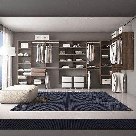 Closet Completo (12) em L com Cabideiros, Gavetas e Prateleiras