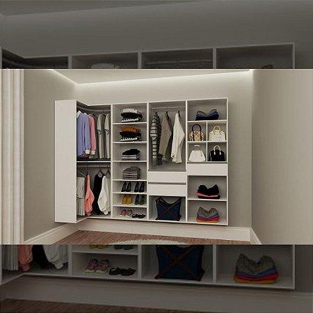 Closet Completo (35) em L com Cabideiros, Prateleiras, Gavetas e Nichos