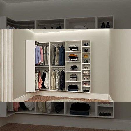 Closet Completo (36) em U com Cabideiros, Sapateira e Prateleiras