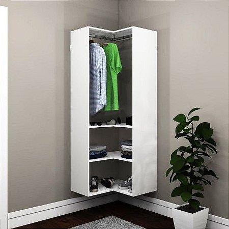 Closet Modulado de canto com Cabideiro e Prateleiras