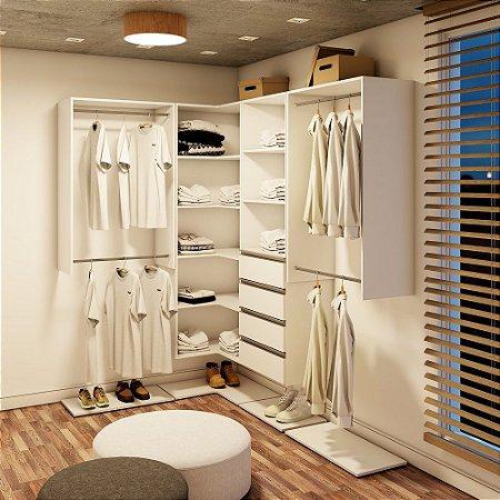 Closet Completo (10) em L com Cabideiro, Prateleiras e Gavetas
