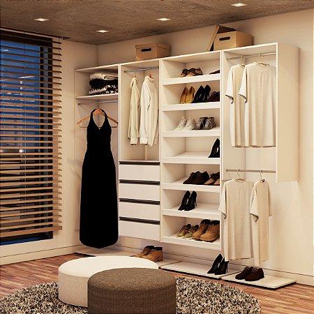 Closet Completo (14) Linear com Cabideiro, Gavetas e Sapateira