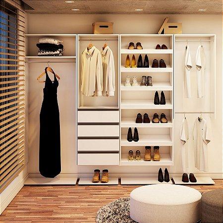 Closet Completo -Pratik Linear Com Cabideiro, Gavetas e Sapateiro - Supercloset