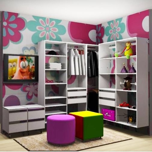 Closet Completo (40) em L com Cabideiro, Prateleiras e Gaveteiros