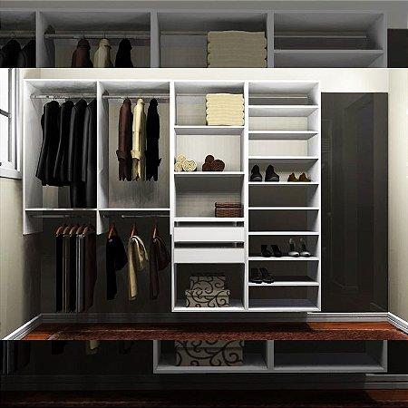 Closet Completo (43) Linear com Cabideiros, Gavetas e Sapateira