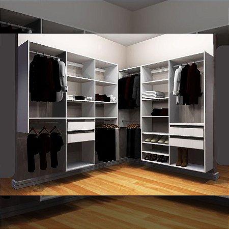 Closet Completo (46) em L com Cabideiros, Gavetas e Prateleiras