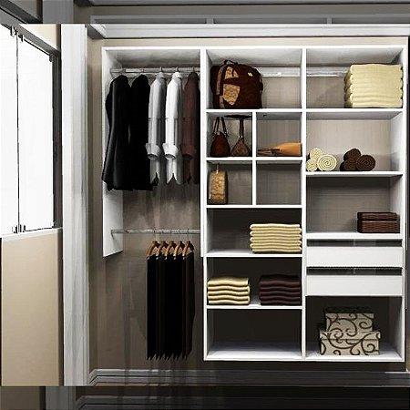 Closet Completo (49) Linear com Cabideiro, Gavetas e Nichos