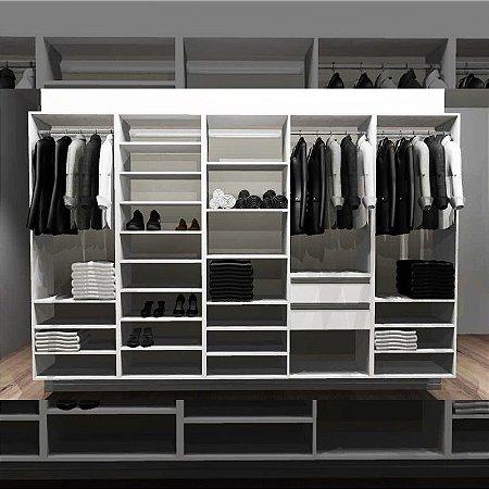 Closet Completo (53) Linear com Cabideiros, Gavetas, Sapateira e Prateleiras