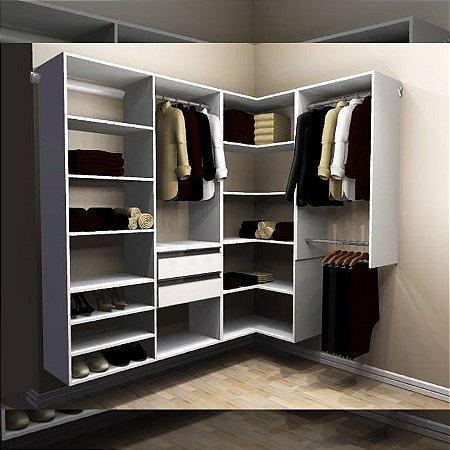 Closet Completo (57) em L com Cabideiros, Gavetas e Prateleiras