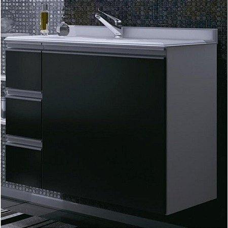 Armário para Banheiro Branco com Portas e Gavetas em Preto