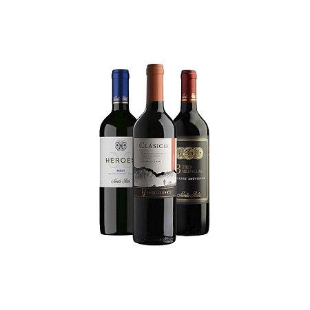 Kit com 3 Vinhos Tintos Chilenos 750ml