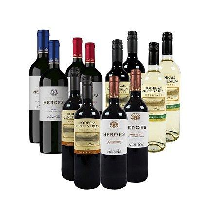 Kit com 12 Vinhos Tintos Chilenos 750ml