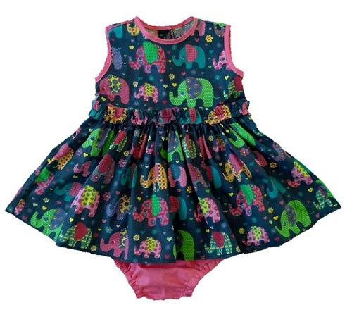 vestido Elefantinho Colorido com Tapa- fraldas