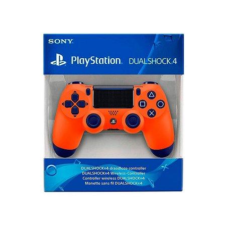 Controle Dualshock 4 1ª Linha - Azul e Laranja - PS4